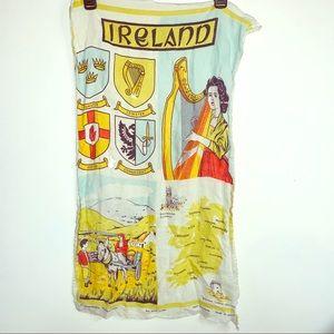 Vintage Ireland tea towel linen graphic